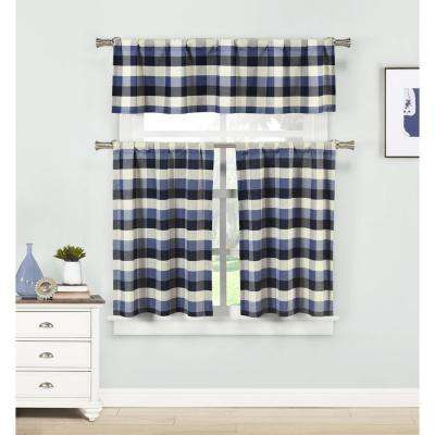 Kingsville Blue Kitchen Curtain Set – 58 In. W X 15 In (View 24 of 25)