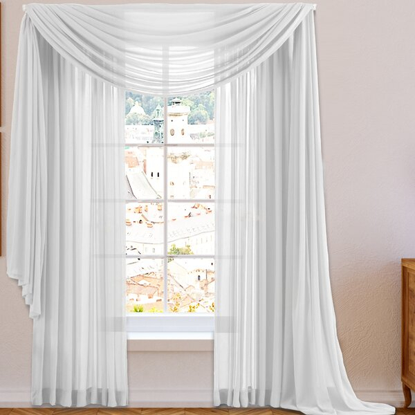 Kitchen Bay Window Curtains | Wayfair Pertaining To White Tone On Tone Raised Microcheck Semisheer Window Curtain Pieces (Image 13 of 25)