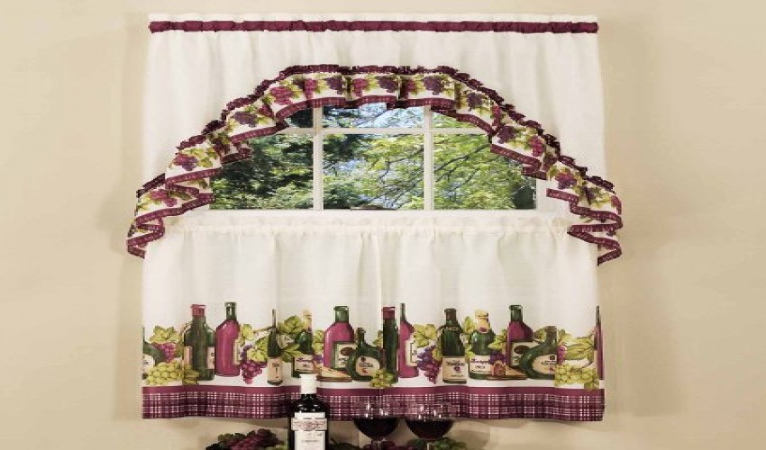 Featured Image of Chardonnay Tier And Swag Kitchen Curtain Sets