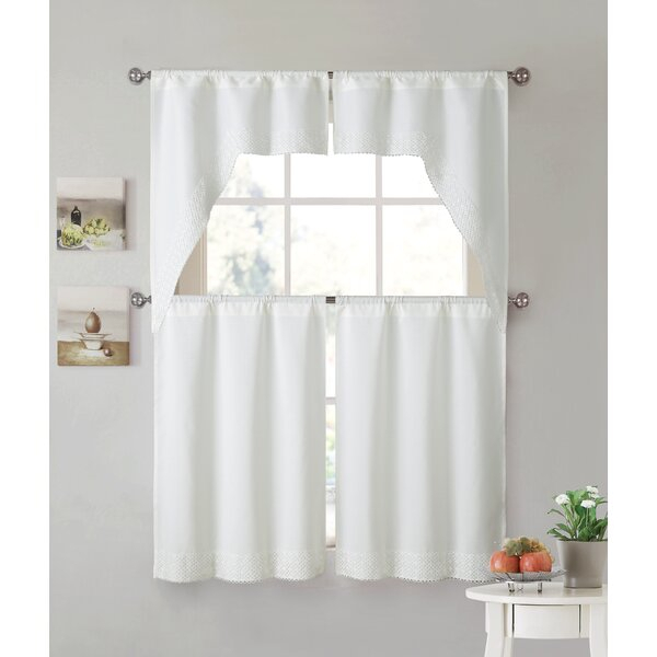 Kitchen Curtain Panels | Wayfair Regarding Solid Microfiber 3 Piece Kitchen Curtain Valance And Tiers Sets (View 13 of 25)