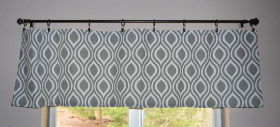 """Kitchen Curtain Valance . Gray And White Teardrop . Premier Prints Nicole Twill . 15""""l X 52""""w . Unlined (View 23 of 25)"""