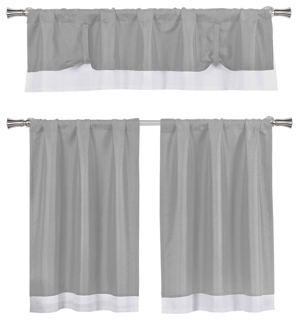 Kitchen Curtains 3 Piece Set, Tie Up Solid Textured, Gray, White In Dove Gray Curtain Tier Pairs (View 9 of 25)