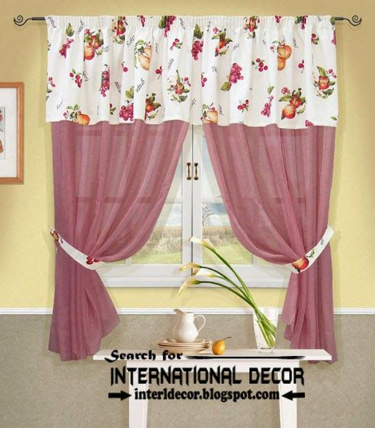 Kitchen Curtains Designs Ideas 2016, Pink Curtains For With Regard To Floral Blossom Ink Painting Thermal Room Darkening Kitchen Tier Pairs (View 20 of 25)