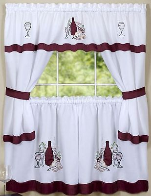 Kitchen Curtains Embellished Cottage Set, Wine & Grapes, Cabarnetachim | Ebay With Regard To Chateau Wines Cottage Kitchen Curtain Tier And Valance Sets (View 7 of 25)