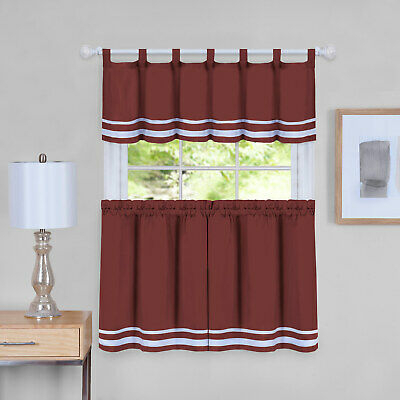 """Kitchen Curtains Set: 2 Tiers (57""""x 36"""") & Swag, Butterflies Regarding Red Delicious Apple 3 Piece Curtain Tiers (View 12 of 25)"""