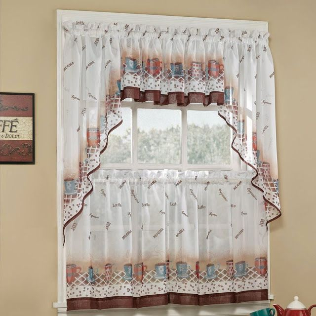 Featured Image of Floral Lace Rod Pocket Kitchen Curtain Valance And Tiers Sets