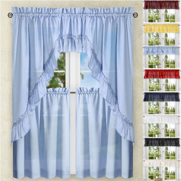 Kitchen Curtains | Tiers | Swags | Valances | Lace Kitchen In Embroidered Chef Black 5 Piece Kitchen Curtain Sets (View 17 of 25)
