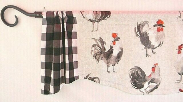 Featured Image of Barnyard Buffalo Check Rooster Window Valances