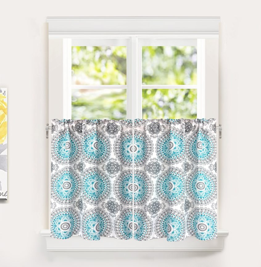 Kitchen: Modern Kitchen Curtains Best House Design Coffee Inside Coffee Embroidered Kitchen Curtain Tier Sets (View 14 of 25)
