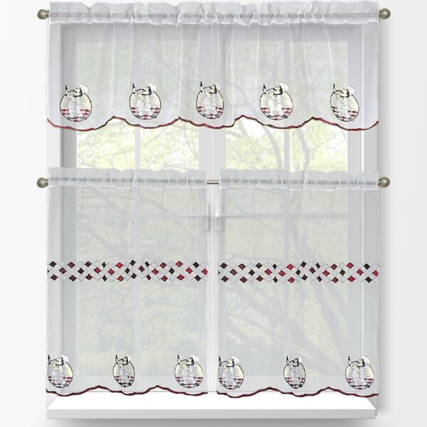 Kitchen Tier And Valance Sets | Wayfair Intended For Embroidered 'Coffee Cup' 5 Piece Kitchen Curtain Sets (View 13 of 25)