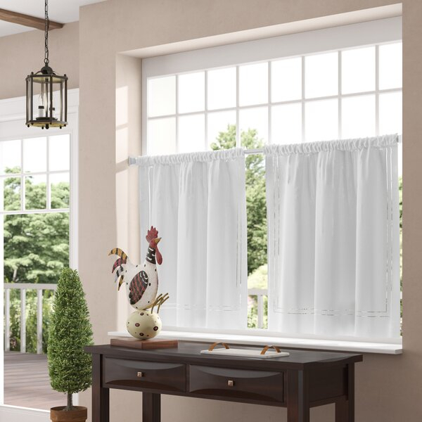 Kitchen Tier Curtains | Wayfair In Linen Stripe Rod Pocket Sheer Kitchen Tier Sets (View 11 of 25)