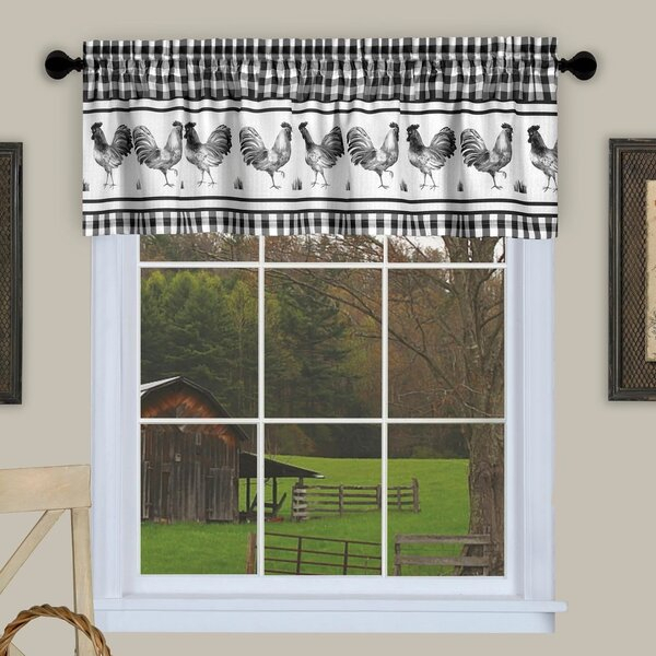Kitchen Valances With Roosters | Wayfair Regarding Barnyard Buffalo Check Rooster Window Valances (View 21 of 26)
