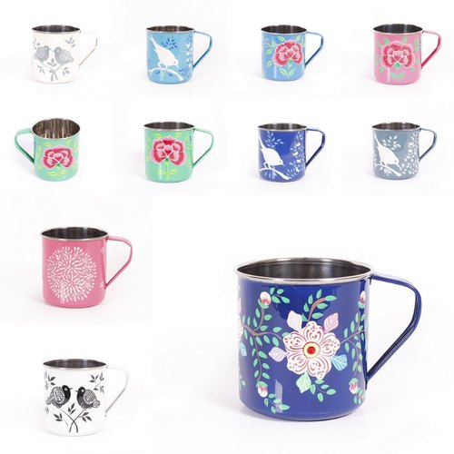 Kitchen Ware – Hand Painted Floral Stainless Steel Metal Inside Embroidered 'coffee Cup' 5 Piece Kitchen Curtain Sets (View 18 of 25)