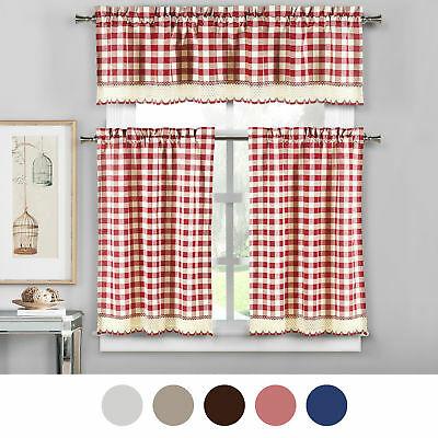 "Kitchen Window Curtain Classic Harvard Checkered 24"" Tier Pertaining To Burgundy Cotton Blend Classic Checkered Decorative Window Curtains (View 22 of 25)"