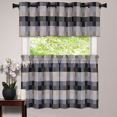 Kitchen Window Curtain Classic Harvard Checkered, Tiers Or Valance Black | Ebay For Dakota Window Curtain Tier Pair And Valance Sets (View 25 of 25)