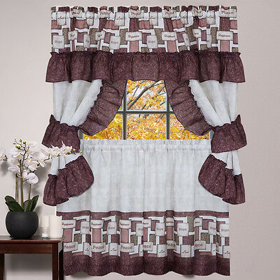 Kitchen Window Curtain Cottage 5 Piece Set Embroidered Within 5 Piece Burgundy Embroidered Cabernet Kitchen Curtain Sets (View 7 of 25)