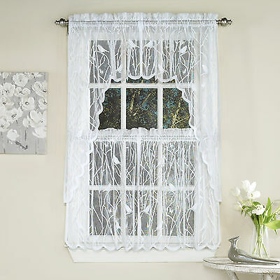 Knit Lace Bird Motif Kitchen Window Curtain Tiers, Swags Or Intended For Floral Lace Rod Pocket Kitchen Curtain Valance And Tiers Sets (View 8 of 25)