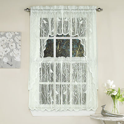Featured Image of Ivory Knit Lace Bird Motif Window Curtain