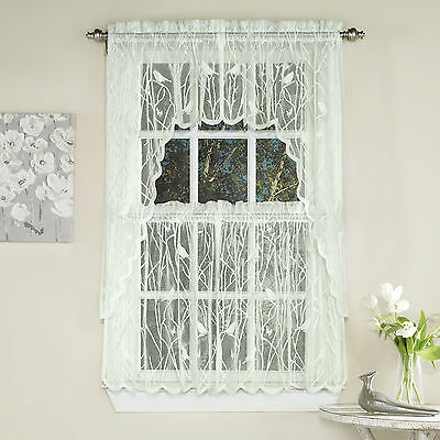 Knit Lace Bird Motif Kitchen Window Curtain Tiers, Swags Or With Regard To Elegant White Priscilla Lace Kitchen Curtain Pieces (View 18 of 25)