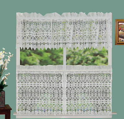 Knit Lace Bird Motif Kitchen Window Curtain Tiers, Swags Or Within Ivory Knit Lace Bird Motif Window Curtain (Image 11 of 25)