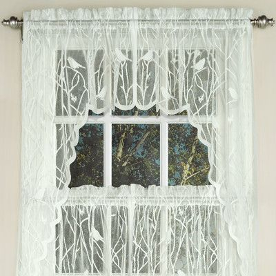 Featured Image of White Knit Lace Bird Motif Window Curtain Tiers