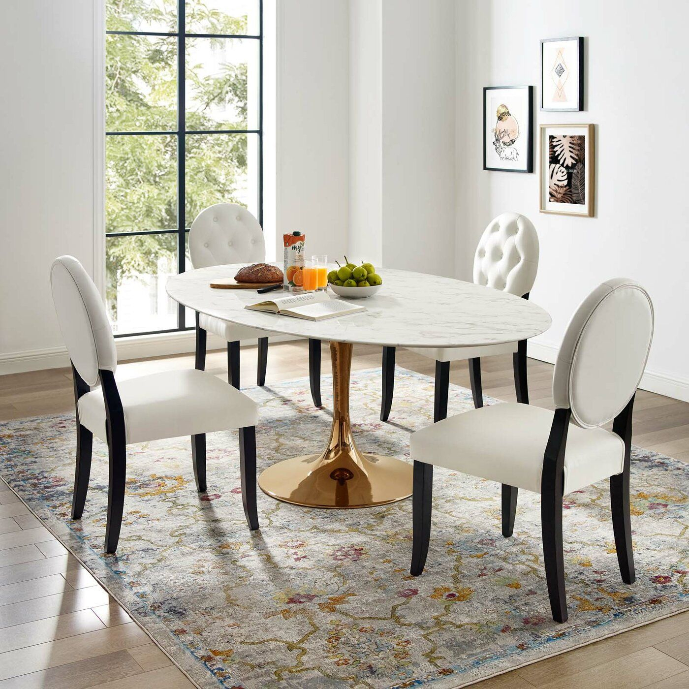 Kylee Artificial Marble Oval Shaped Dining Table Pertaining To Latest Chapman Marble Oval Dining Tables (View 6 of 25)