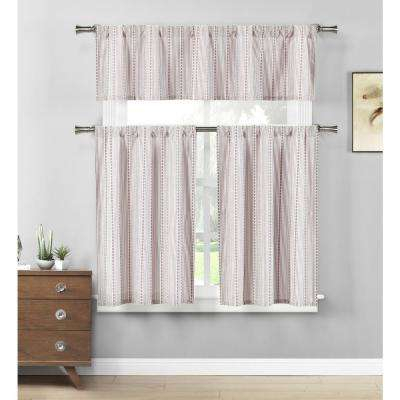 Kylie Burgundy White Kitchen Curtain Set – 58 In. W X 15 In (View 11 of 25)