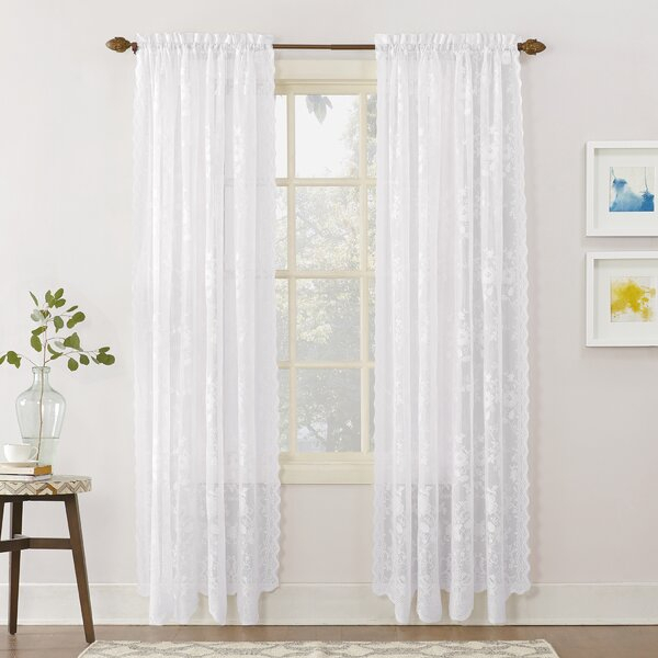 Lace Curtains 63 Inches | Wayfair Regarding Marine Life Motif Knitted Lace Window Curtain Pieces (View 15 of 25)