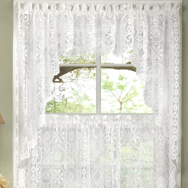 Lace Curtains And Swags | Wayfair Throughout Floral Lace Rod Pocket Kitchen Curtain Valance And Tiers Sets (View 13 of 25)
