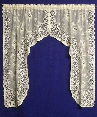 Lace Window Swags, Valances, And Inserts Ivory Or White Windsor Cotton  Blend | Ebay For Ivory Knit Lace Bird Motif Window Curtain (Image 16 of 25)
