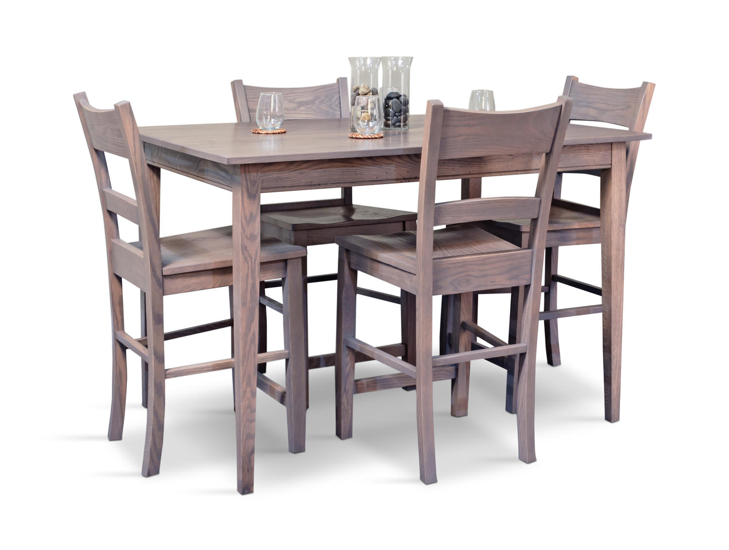 Lancaster Fog Tapered Leg Counter Table With 4 Carson Stools Throughout Most Current Carson Counter Height Tables (View 9 of 25)