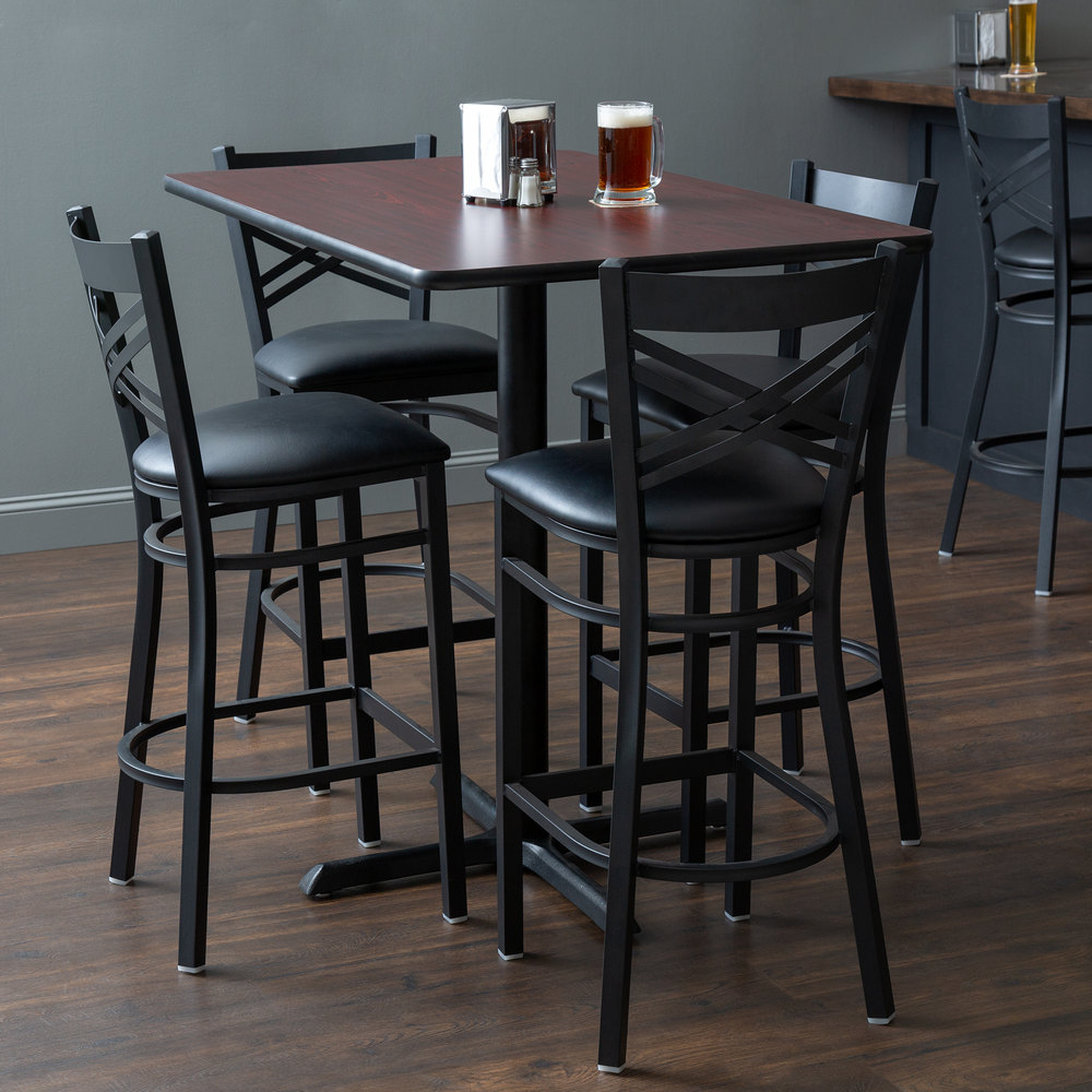 "Lancaster Table & Seating 30"" X 48"" Reversible Cherry / Black Bar Height Dining Set Intended For Recent Ingred Extending Dining Tables (View 11 of 25)"