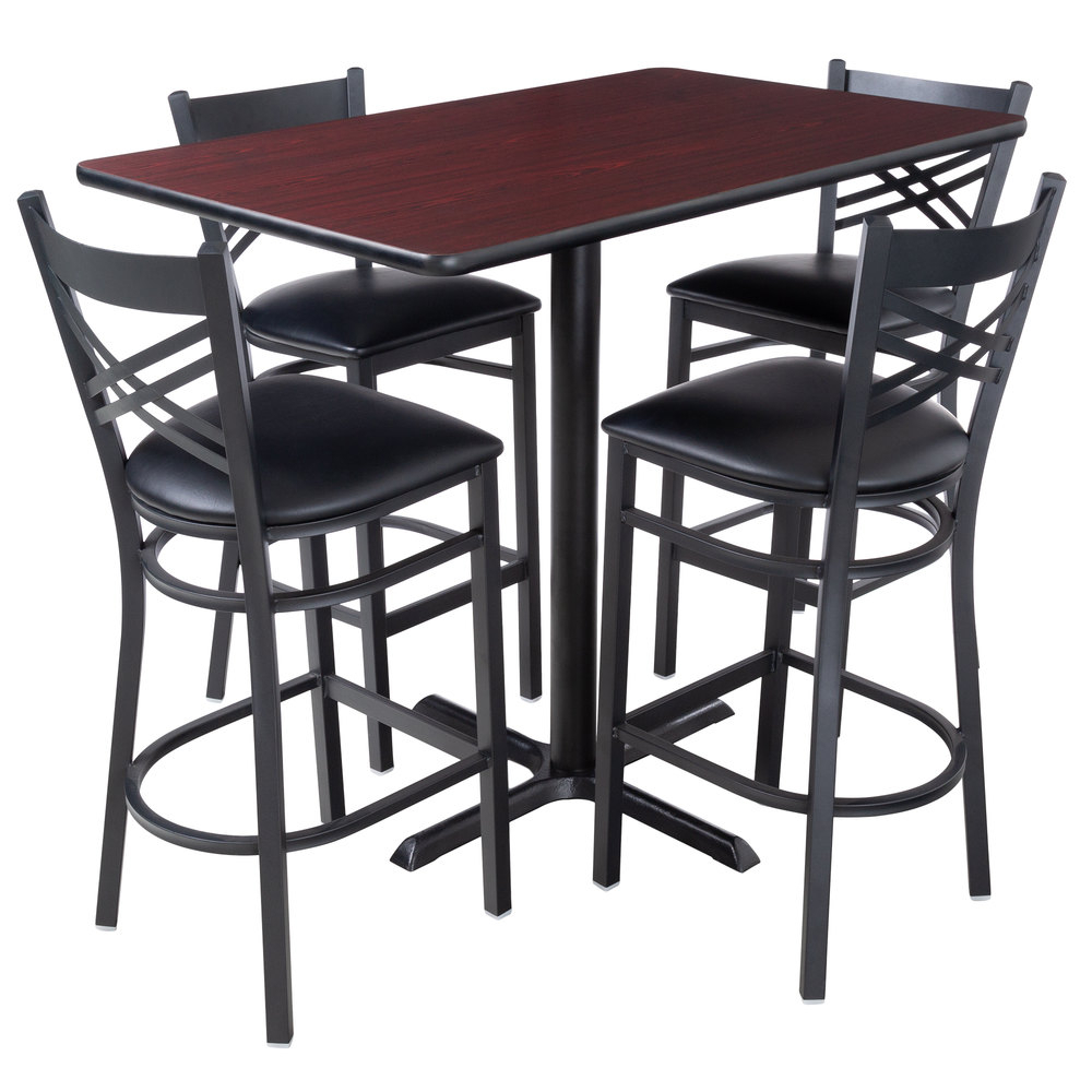 "Lancaster Table & Seating 30"" X 48"" Reversible Cherry / Black Bar Height Dining Set Pertaining To Most Up To Date Ingred Extending Dining Tables (View 18 of 25)"