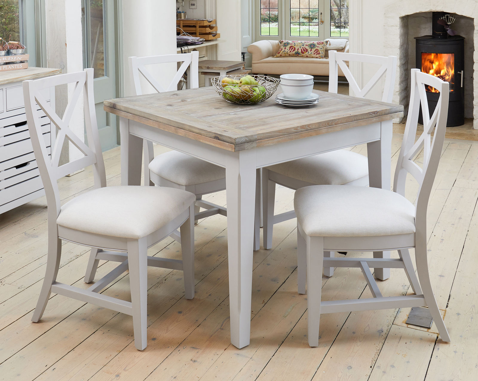 Langton Grey Painted Furniture Square Extending 4 To 6 Seater Dining Table Throughout Most Recently Released Langton Reclaimed Wood Dining Tables (View 6 of 25)