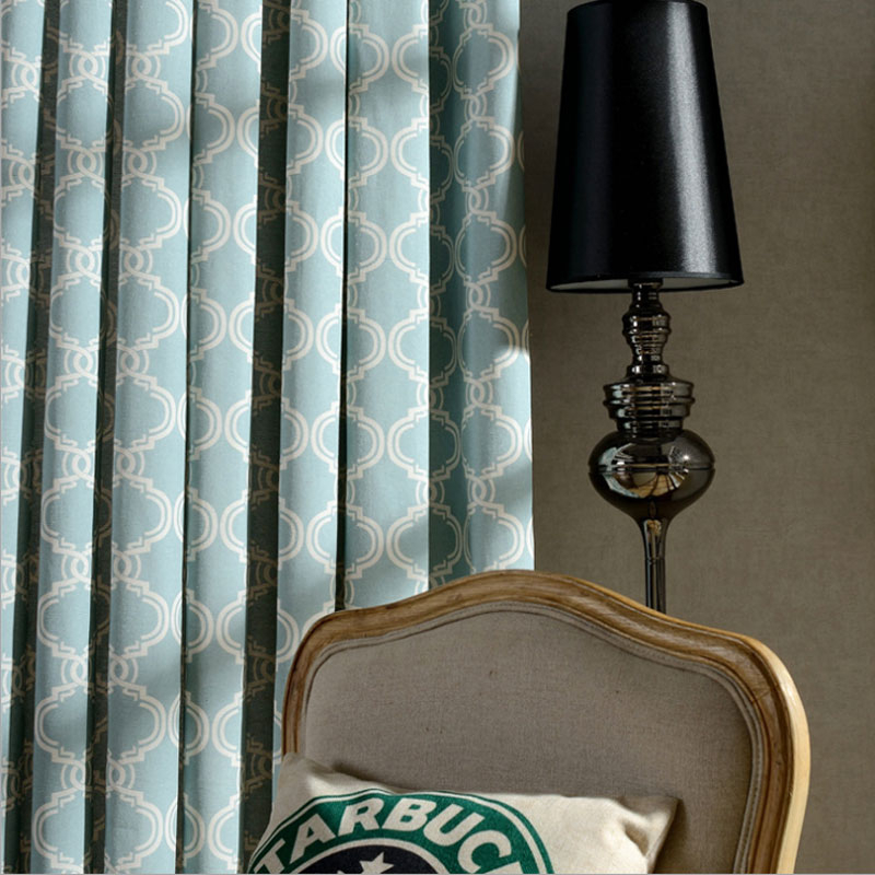 Lantern Print Window Curtains Poly Cotton Blend Fabric High Quality Black Out Blind Grey Color Custom Size For Room Grey Blue Within Burgundy Cotton Blend Classic Checkered Decorative Window Curtains (View 24 of 25)