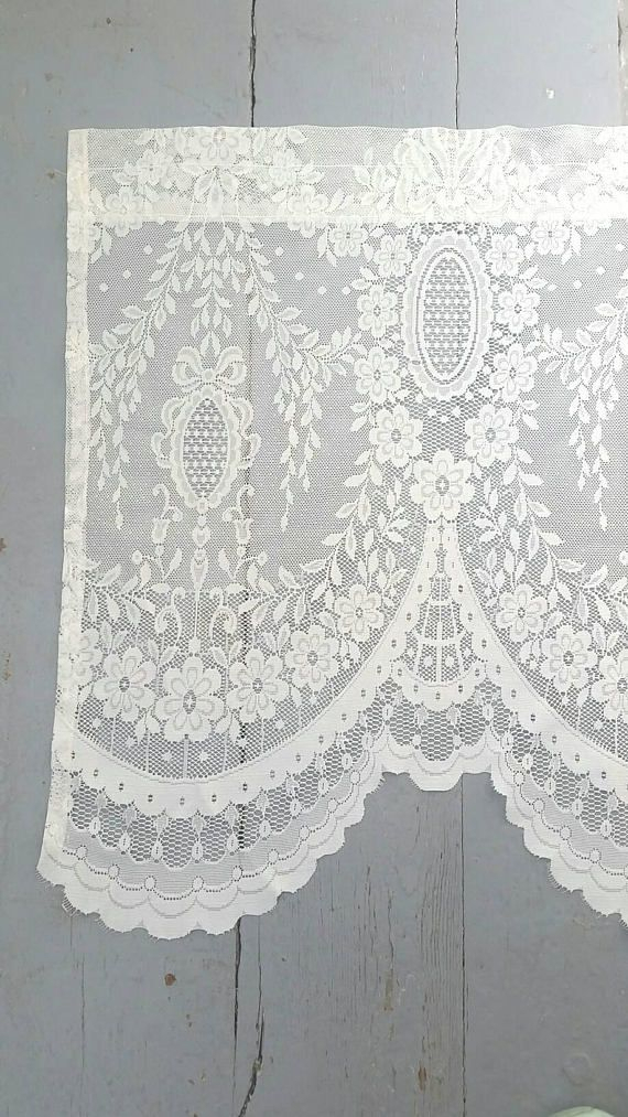Large Lace Window Curtain. Long Lace Window Valance (View 17 of 25)