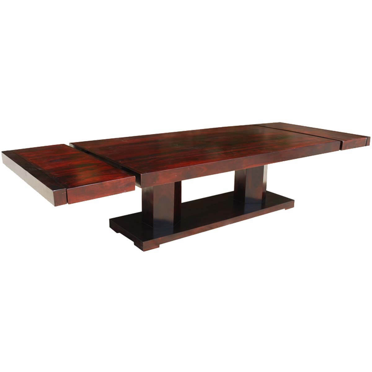 Large Rustic Solid Wood Double Pedestal Extendable Dining Table With Most Recently Released Rustic Mahogany Extending Dining Tables (View 9 of 25)