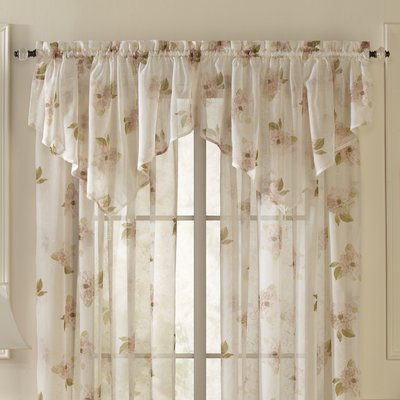 Lark Manor Overlock Scroll Ascot Curtain Valance Color: Pink Within Maize Vertical Ruffled Waterfall Valance And Curtain Tiers (View 19 of 25)