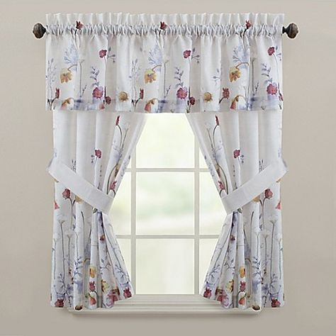 Laura Ashley Harper Green Window Valance Bedding In 2019 Intended For French Vanilla Country Style Curtain Parts With White Daisy Lace Accent (Image 16 of 25)