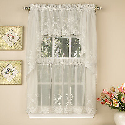 Laurel Leaf Sheer Voile Embroidered Ivory Kitchen Curtains Tier, Valance Or Swag | Ebay Throughout Scroll Leaf 3 Piece Curtain Tier And Valance Sets (View 20 of 25)