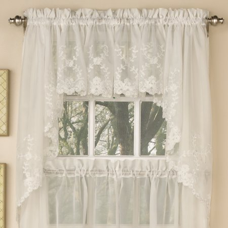 Laurel Leaf Sheer Voile Embroidered Kitchen Curtains 24 Inch For Forest Valance And Tier Pair Curtains (View 17 of 25)