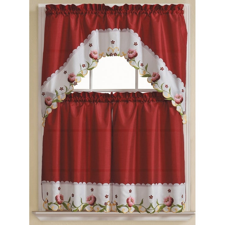 Leela 3 Piece Embroidered Kitchen Curtain Set, Burgundy, Tiers 30X36, Swag 60X36 Inches Inside Chardonnay Tier And Swag Kitchen Curtain Sets (View 16 of 25)