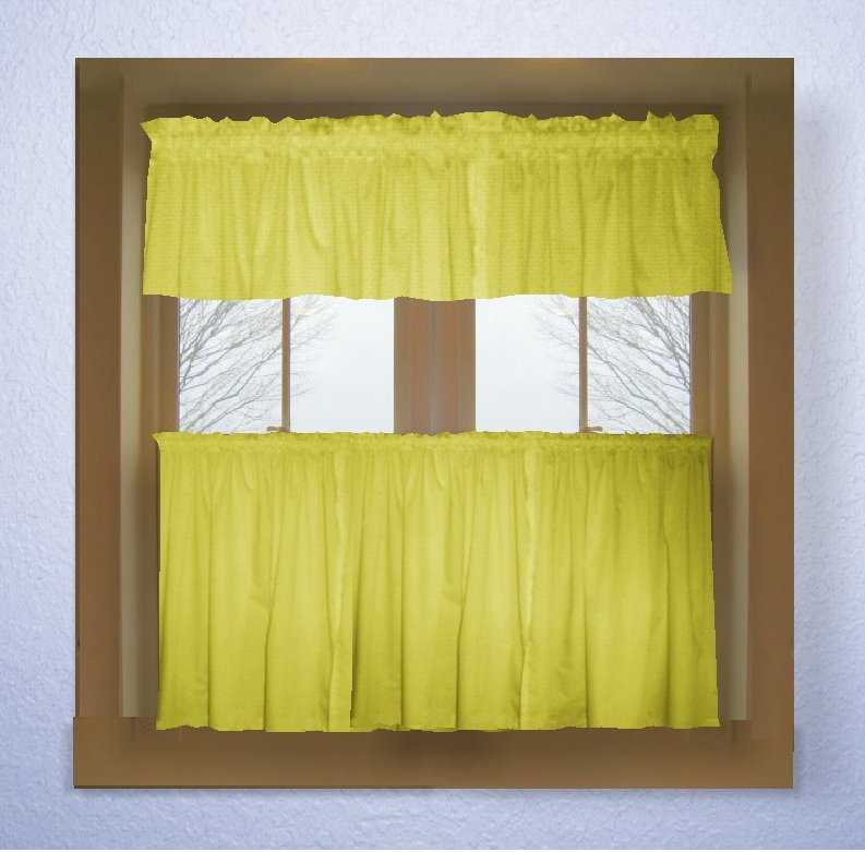 Lemon Bright Yellow Color Tier Kitchen Curtain Two Panel Set Within Bermuda Ruffle Kitchen Curtain Tier Sets (Image 11 of 25)