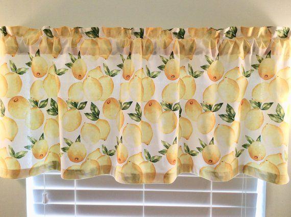 Lemon Window Valance  Lemon Curtains – Kitchen Curtains For Lemon Drop Tier And Valance Window Curtain Sets (Photo 8 of 25)