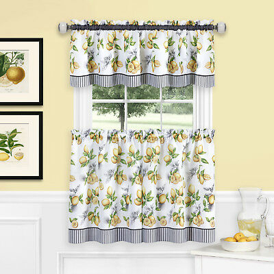 Lemons Complete Cafe Style Kitchen Curtain Tier & Valance Intended For Urban Embroidered Tier And Valance Kitchen Curtain Tier Sets (View 16 of 25)