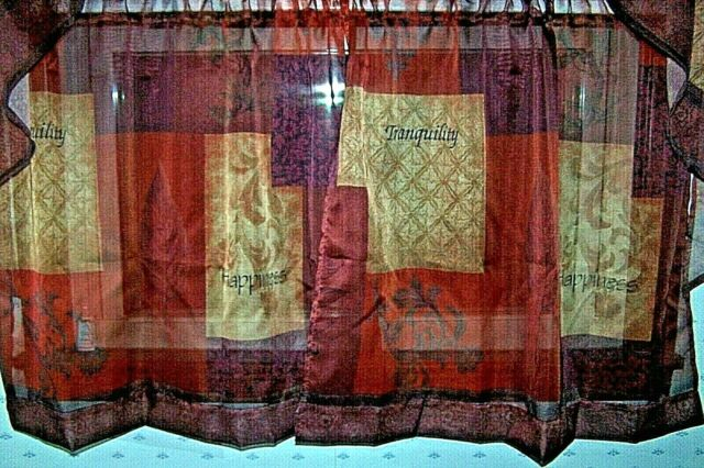 """Lichtenberg Eden Set Of 2 Brown Multi Tiers ~ Tranquility + Happiness ~ 56X36"""" Regarding Tranquility Curtain Tier Pairs (View 8 of 25)"""