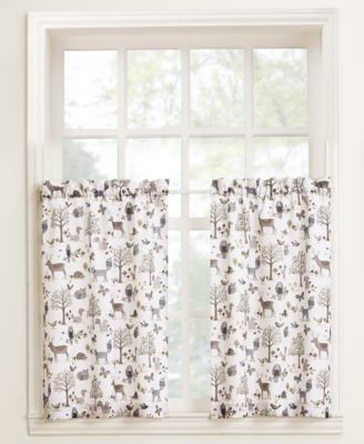 """Lichtenberg Forest Friends 56"""" X 24"""" Pair Of Tier Curtains With Hopscotch 24 Inch Tier Pairs In Neutral (Image 10 of 25)"""