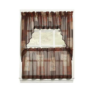 Lichtenberg Sheer Multi Eden Printed Textured Sheer Kitchen Curtain Tiers | Ebay For Kitchen Curtain Tiers (View 14 of 25)