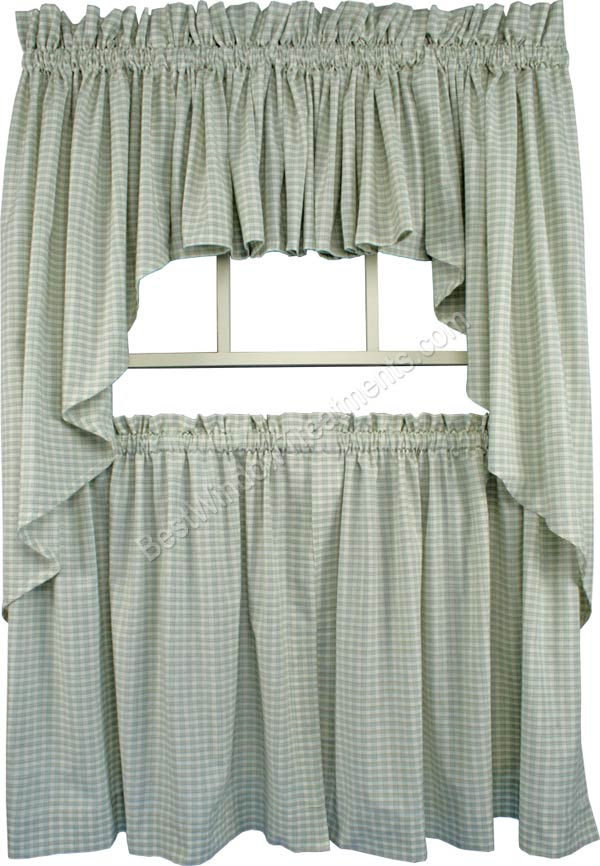 Lincol Plaid Tailored Tier Curtain Available In 3 Color Options Regarding Tailored Valance And Tier Curtains (View 21 of 25)