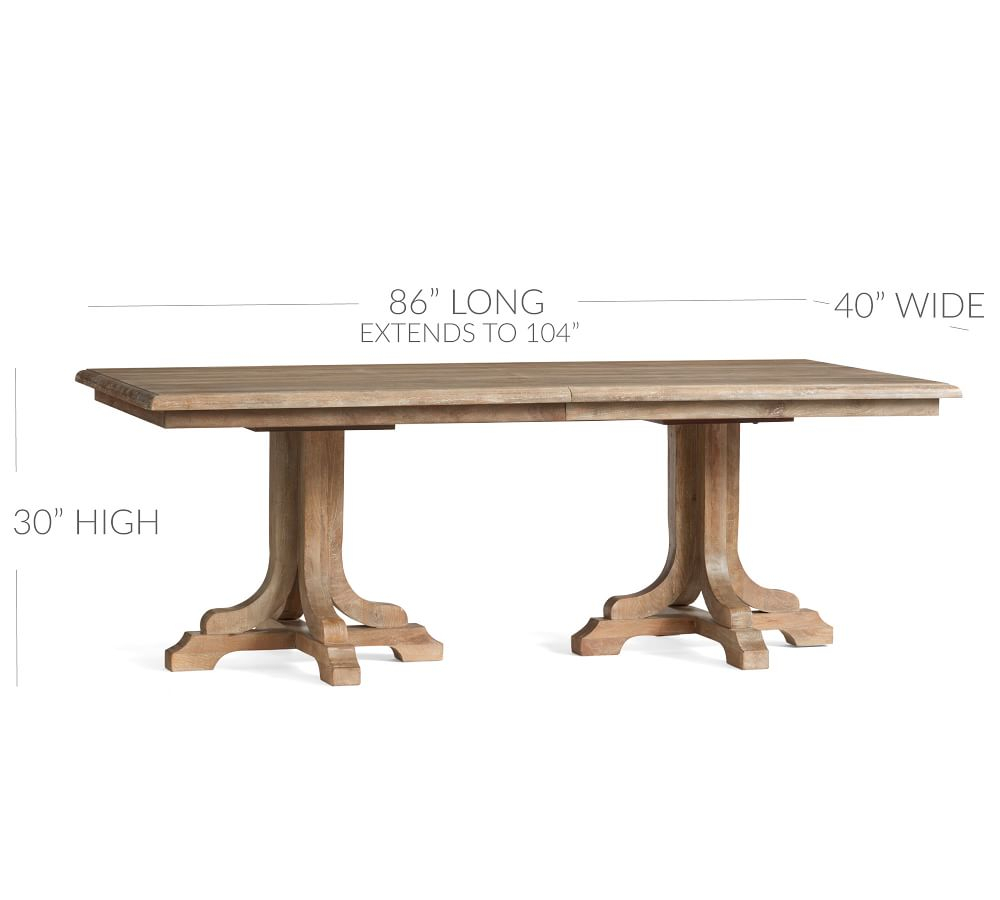 Linden Extending Dining Table Pertaining To Most Up To Date Gray Wash Benchwright Extending Dining Tables (View 15 of 25)